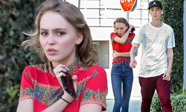 """West Hollywood, CA - Lily-Rose Melody Depp was seen Chaperoned by bodyguard on Date With New Beau as she stopped of to shop Mark Jacobs, the frail thin young model seemed to be sick and coughing up a storm. Johnny Depp's daughter had recently expressed that she was """"gender-fluid"""" but then later stated that her expression was taken out of context.   AKM-GSI  February  18, 2016    To License These Photos, Please Contact :    Steve Ginsburg  (310) 505-8447  (323) 423-9397  steve@akmgsi.com  sales@akmgsi.com    or    Maria Buda  (917) 242-1505  mbuda@akmgsi.com  ginsburgspalyinc@gmail.com"""