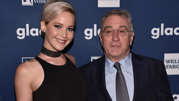 NEW YORK, NY - MAY 14:  Jennifer Lawrence and Robert De Niro pose with an award at the 27th Annual GLAAD Media Awards in New York on May 14, 2016 in New York City.  (Photo by Bryan Bedder/Getty Images for GLAAD)