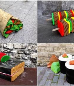 滿大街都是創意!巴黎設計師把舊床墊變巨型美食