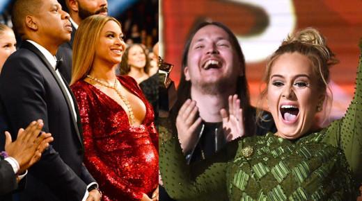 """Adele格萊美現場超""""瘋狂"""":折斷獎杯、想做Beyonce女兒、中斷表演…太精彩!"""